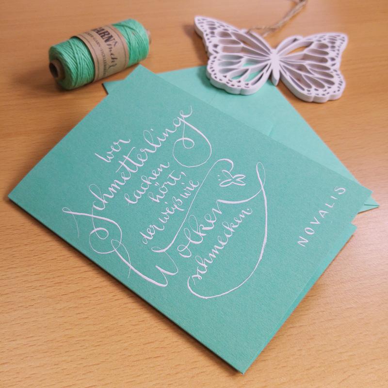 """Zitate auf Grußkarten als Geschenk: """"Wer Schmetterlinge lachen hört…"""""""