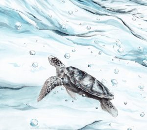 Smartphone Wallpaper with Seaturtle Illustration
